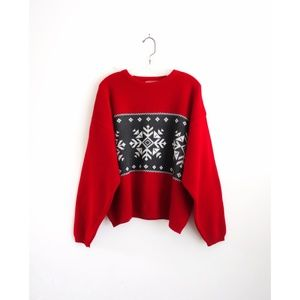 Vintage 60s/70s? Red Snowflake Sweater
